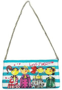 Love Moschino Charming Girls Chain Clutch - Light Blue
