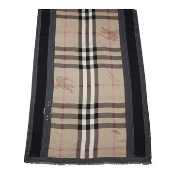 Burberry Women Haymarket Color Border Scarf Camel - Black