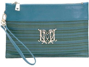 Love Moschino Woven Faux Leather Stripe Clutch Bag With Wristletstrap - Turquoise