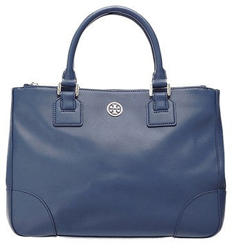 Tory Burch Robinson Double Zip - Blue Tote Bag