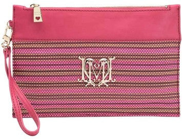 Love Moschino Woven Faux Leather Stripe Clutch Bag With Wristletstrap - Pink