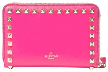 Valentino Rockstud Medium Zip Around Wallet Bright Pink HWP00252 AB0L01 R49
