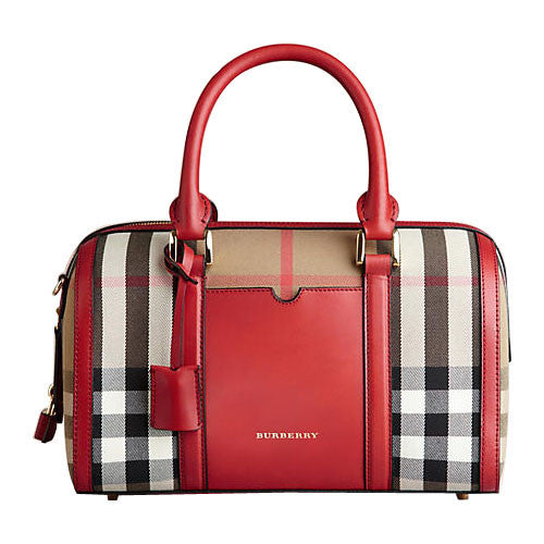 Burberry The Medium Alchester In House Check And Leather - Red