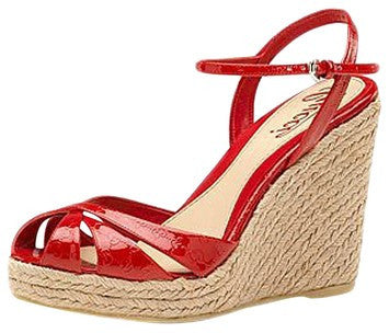 Gucci Micro Island Wedges Tabasco Red Sandals