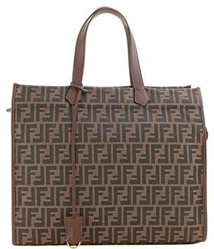 Fendi Jacquard Zucca Logo Large 8bh274 - Brown Tote Bag