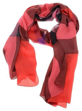Burberry Women Mega Check Satin Silk Scarf Poppy Check - Red