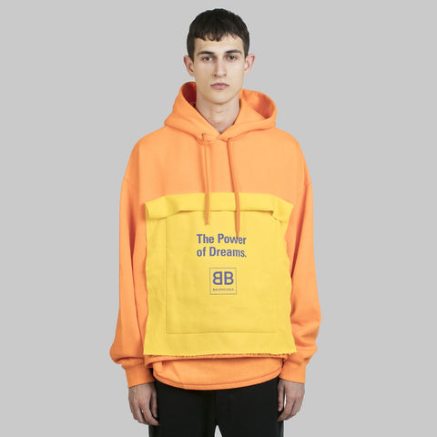 Orange Double Entry Hooded Sweater