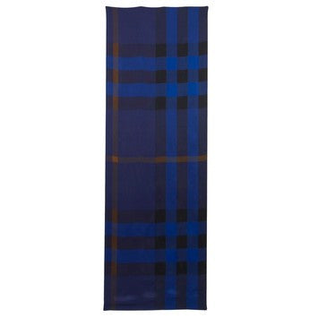 Burberry Women Mega Check Satin Silk Scarf Bright Cobalt - Blue