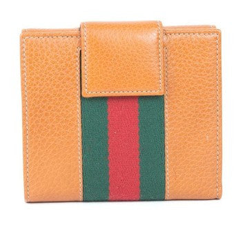 Gucci D-Ring Leather Stripe Wallet - Beige/Camel