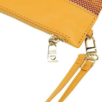 Love Moschino Woven Faux Leather Stripe Clutch Bag With Wristletstrap - Orange Camel