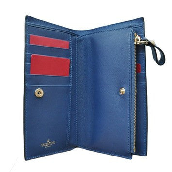 VALENTINO Lock Studs Continental Purse Blue