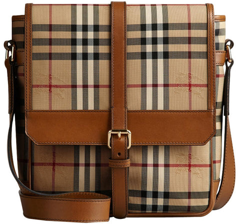 Burberry Horseferry Check And Leather Crossbody Bag