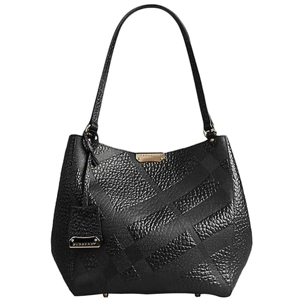 de19c255ac9b Burberry Small Canter In Embossed Check Leather Tote Bag - Black ...