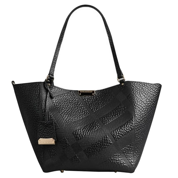 5bab8814ec Burberry Small Canter In Embossed Check Leather Tote Bag - Black ...