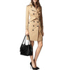 Burberry Small Canter In Embossed Check Leather Tote Bag - Black