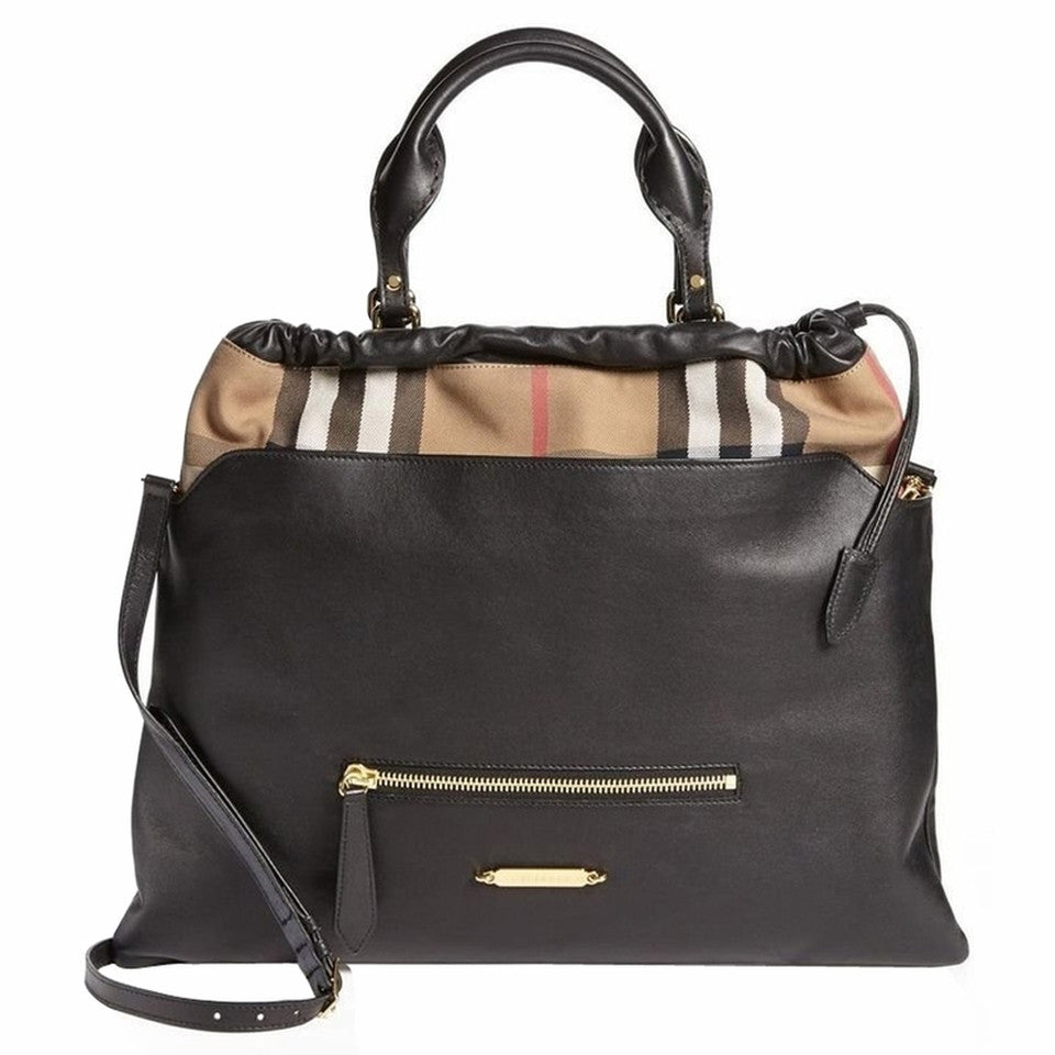 Burberry 'Big Crush' Tote Beige Black