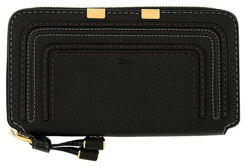 Chloe Marcie Round Zipper Wallet - Black