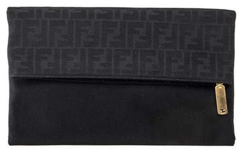 Fendi 2 Way Foldover 8bp062 - Black Clutch
