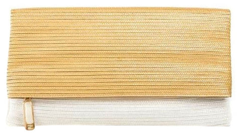 Fendi Foldover - Gold/White Clutch