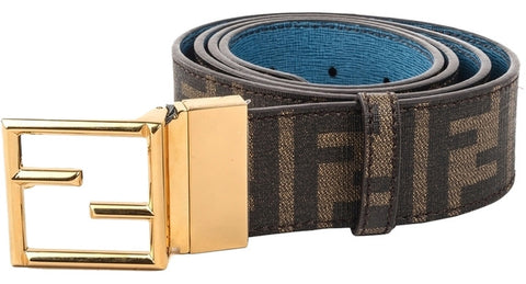Fendi Fibbia Reversible Leather Belt - Brown/Blue