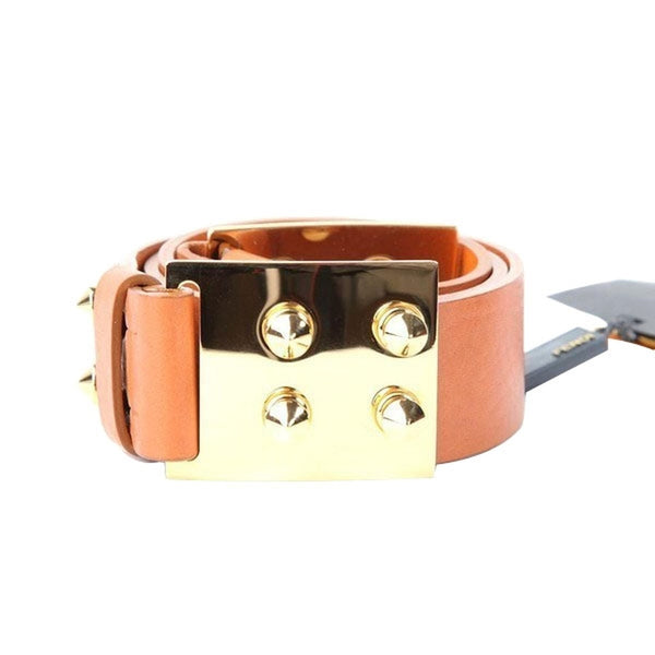 Fendi Leather Belt with Spike Detail Buckle - Tan/Gold