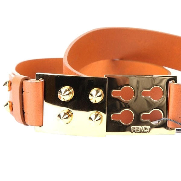 Fendi Leather Belt with Spike Detail Buckle - Brown