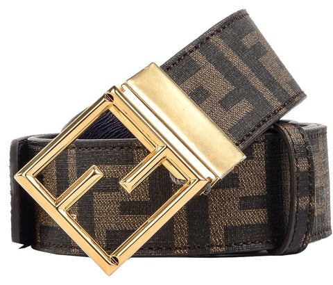 Fendi Fibbia Reversible Leather Belt - Brown
