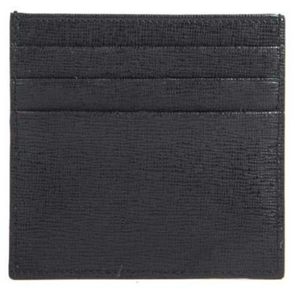 Fendi Leather Business Card Holder Wallet - Black
