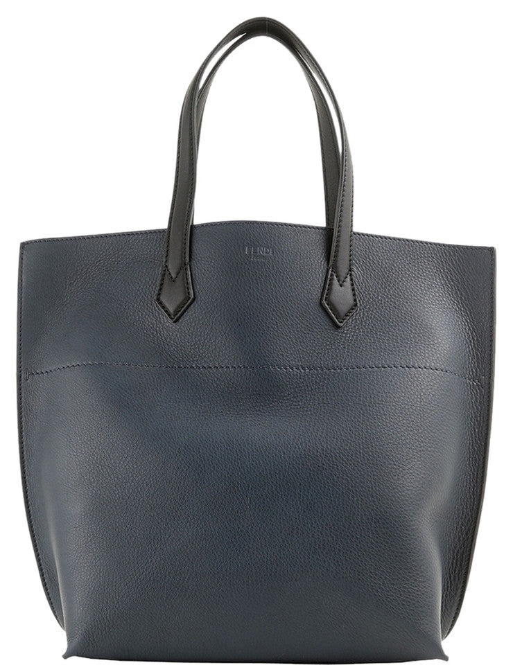 Fendi Leather Large 8bh260 - Blue/Black Tote Bag