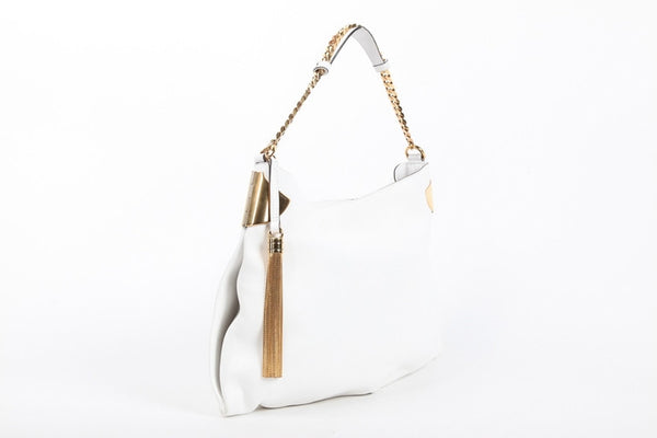 Gucci White Leather Gold Chain Tassel '1970' New $2700 Hobo Bag
