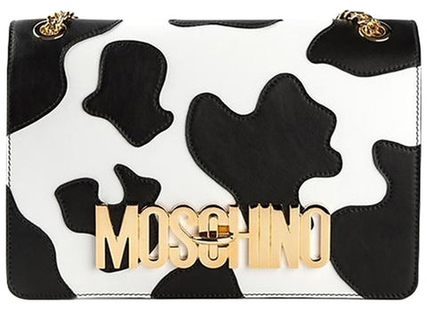 Moschino Cow Print Leather - Shoulder Bag