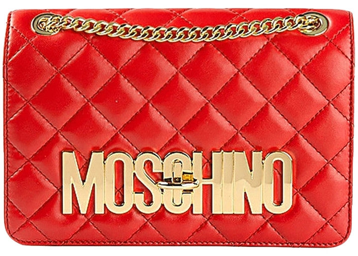 Moschino Gold Logo Quilted - Shoulder Bag