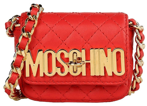 Moschino Gold Logo Quilted Leather Small Pochette - Shoulder Bag