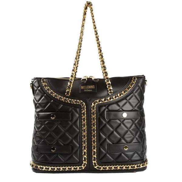 Moschino Quilted Leather Jacket Shopping - Black Tote Bag
