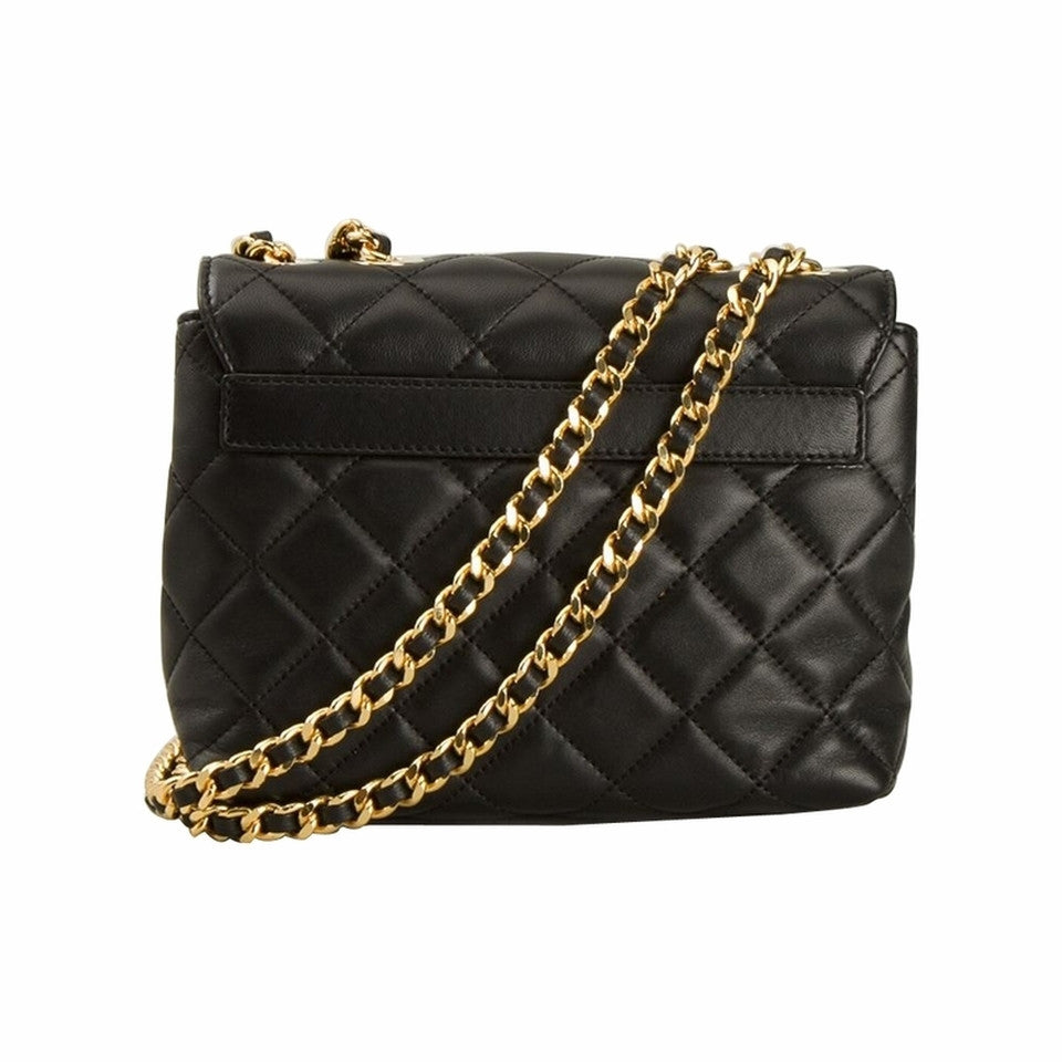 Moschino Quilted Logo Chain - Black Cross Body Bag