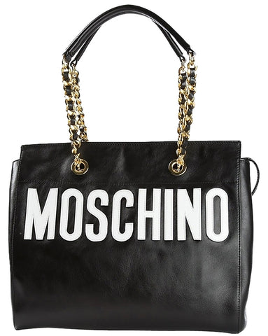 Moschino Stitched Logo Leather - Black Tote Bag
