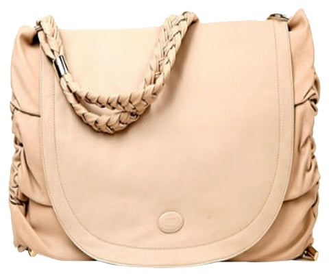 Tod's Grande Goa Leather Messenger Beige Messenger Bag