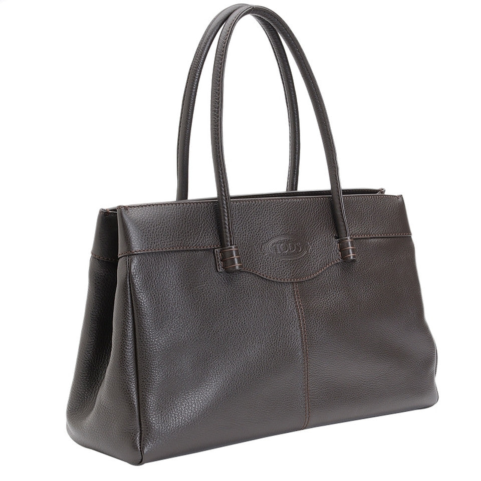 Tod's Medium Leather Mocassino - Dark Brown Tote Bag