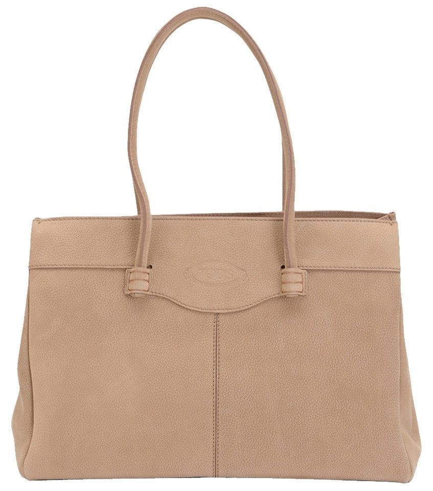 Tod's Medium Leather Mocassino - Beige Tote Bag