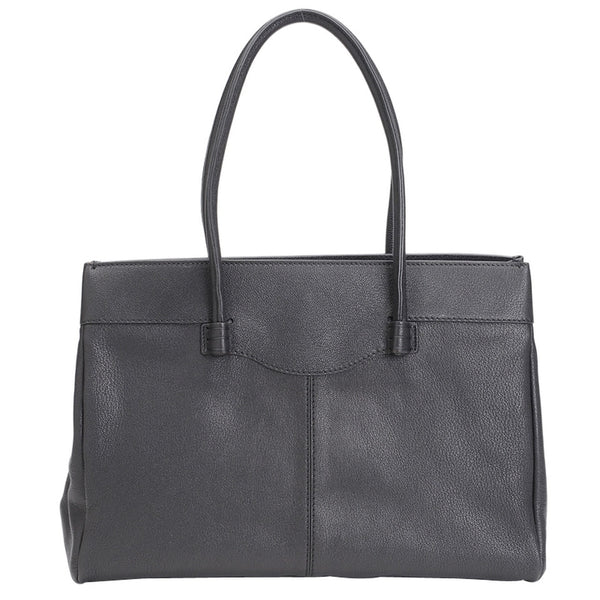 Tod's Medium Leather Mocassino - Black Tote Bag