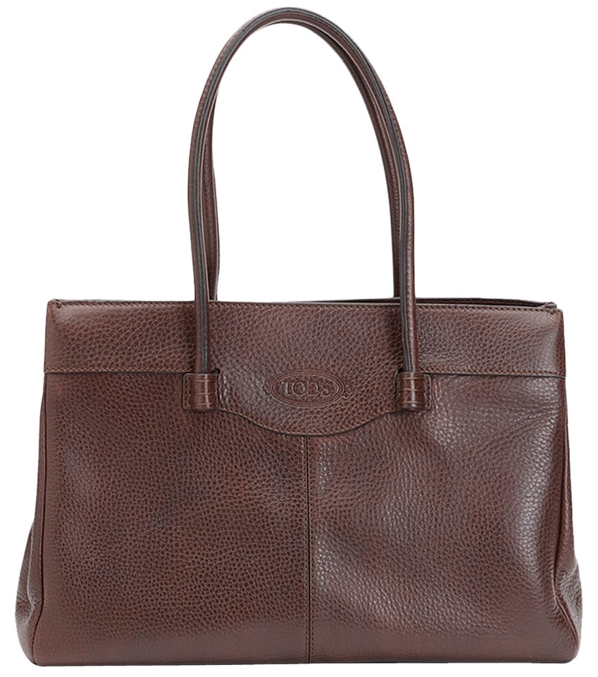 Tod's Medium Leather Mocassino - Brown Tote Bag