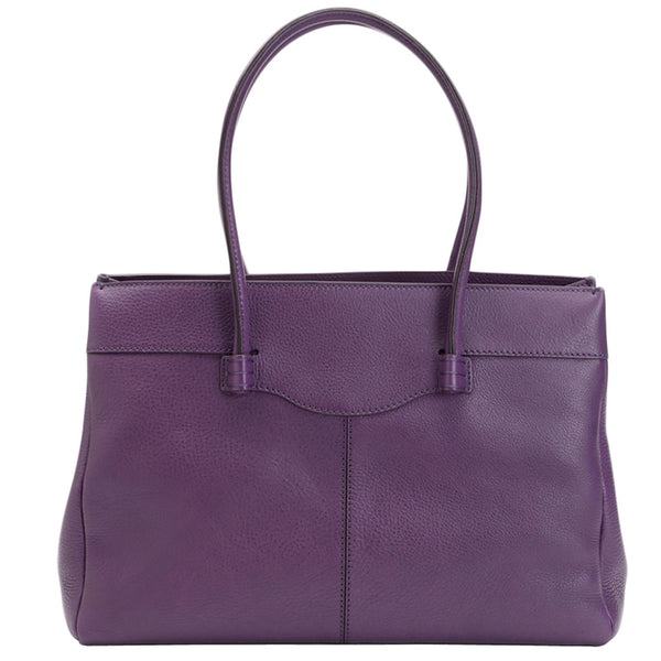 Tod's Medium Leather Mocassino - Purple Tote Bag