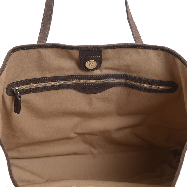 Tod's Shiny Canvas Shopping Media - Beige Tote Bag