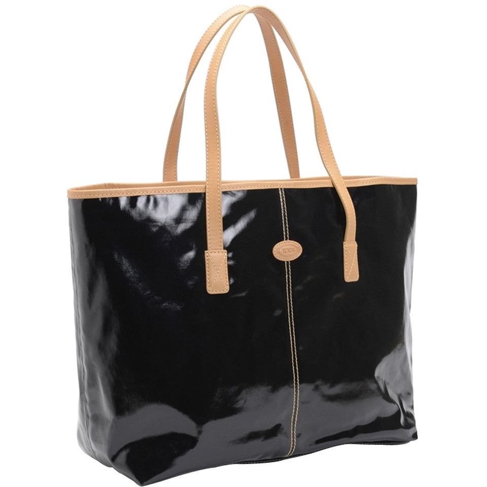 Tod's Shiny Canvas Shopping Media - Ebano Tote Bag