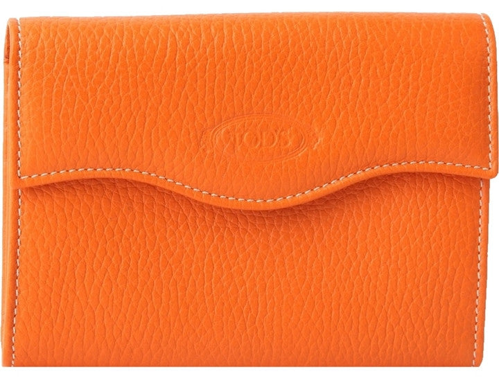 Tods Leather Snap Wallet - Orange