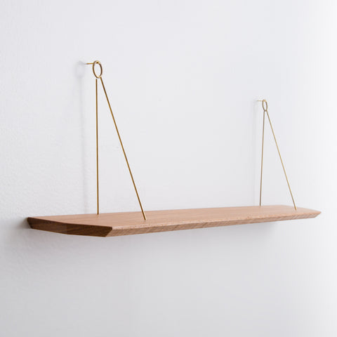 wall hanger shelf - wood with brass hardware - side view hanging on white wall; made in usa by 2nd shift design company | carpenter hill