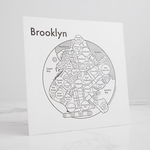 brooklyn city map mindmap - shown standing; made in usa by archie's press | carpenter hill