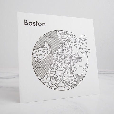 map of boston city mindmap - shown standing; made in usa by archie's press | carpenter hill