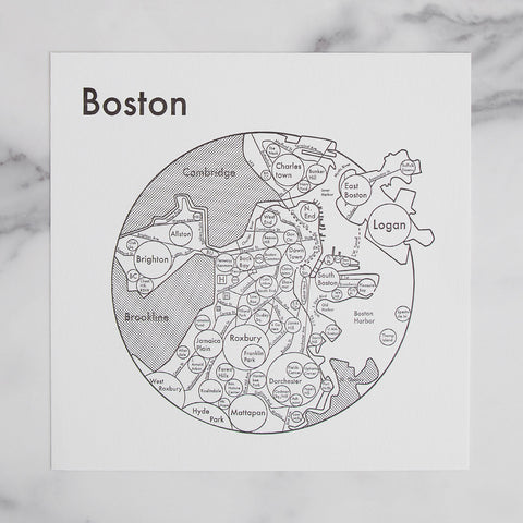 map of boston city mindmap - shown laying on marble slab; made in usa by archie's press | carpenter hill