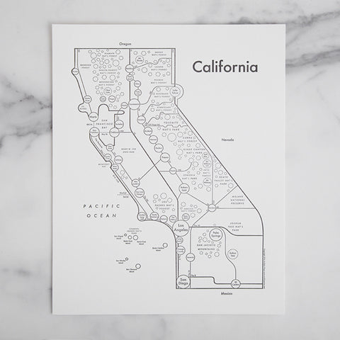 california map mindmap - shown laying on marble slab; made in usa by archie's press | carpenter hill